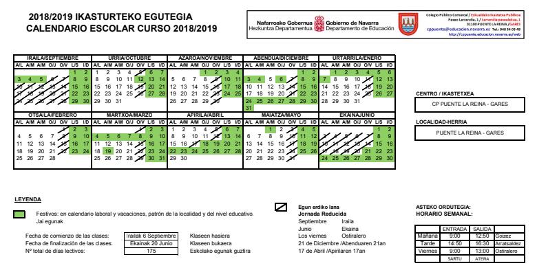 Calendario Laboral 2019 Navarra.Calendario Escolar Cp Puente La Reina Gares